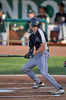 Conner Uselton (2) of the Grand Junction Rockies at bat against the Ogden Raptors at Lindquist Field on June 5, 2021 in Ogden, Utah. The Raptors defeated the Rockies 18-1. (Stephen Smith/Four Seam Images)
