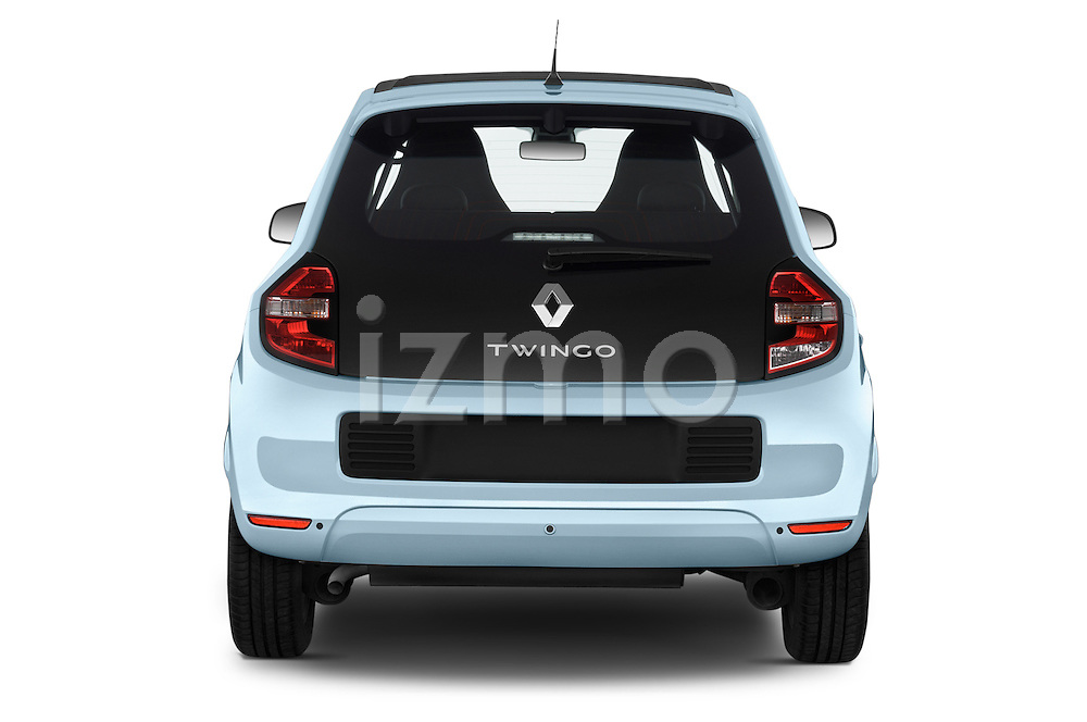 Straight rear view of a 2015 Renault Twingo Intens 5 Door Hatchback 2WD Rear View  stock images