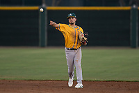 AZL Athletics shortstop Joseph Pena (5) makes a throw to first base during an Arizona League game against the AZL Giants Black at the San Francisco Giants Training Complex on June 19, 2018 in Scottsdale, Arizona. AZL Athletics defeated AZL Giants Black 8-3. (Zachary Lucy/Four Seam Images)