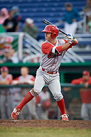 Williamsport Crosscutters third baseman Seth Lancaster (26) at bat during a game against the Batavia Muckdogs on June 22, 2018 at Dwyer Stadium in Batavia, New York.  Williamsport defeated Batavia 9-7.  (Mike Janes/Four Seam Images)