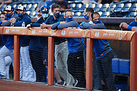 Durham Bulls Assistant General Manager Scott Strickland (4th from left) and strength coach Bryan King (5th from left) during the game against the Jacksonville Jumbo Shrimp at Durham Bulls Athletic Park on May 15, 2021 in Durham, North Carolina. (Brian Westerholt/Four Seam Images)