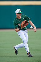 USF Bulls left fielder Garrett Zech (27) fields a ball during a game against the Dartmouth Big Green on March 17, 2019 at USF Baseball Stadium in Tampa, Florida.  USF defeated Dartmouth 4-1.  (Mike Janes/Four Seam Images)