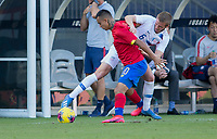 CARSON, CA - FEBRUARY 1: Jackson Yueill #6 of the United States and Randall Leal #10 of Costa Rica battle for a ball during a game between Costa Rica and USMNT at Dignity Health Sports Park on February 1, 2020 in Carson, California.