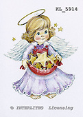 Interlitho, Theresa, CHRISTMAS CHILDREN, paintings, angel, golden stars, KL5914,#xk# stickers stickers