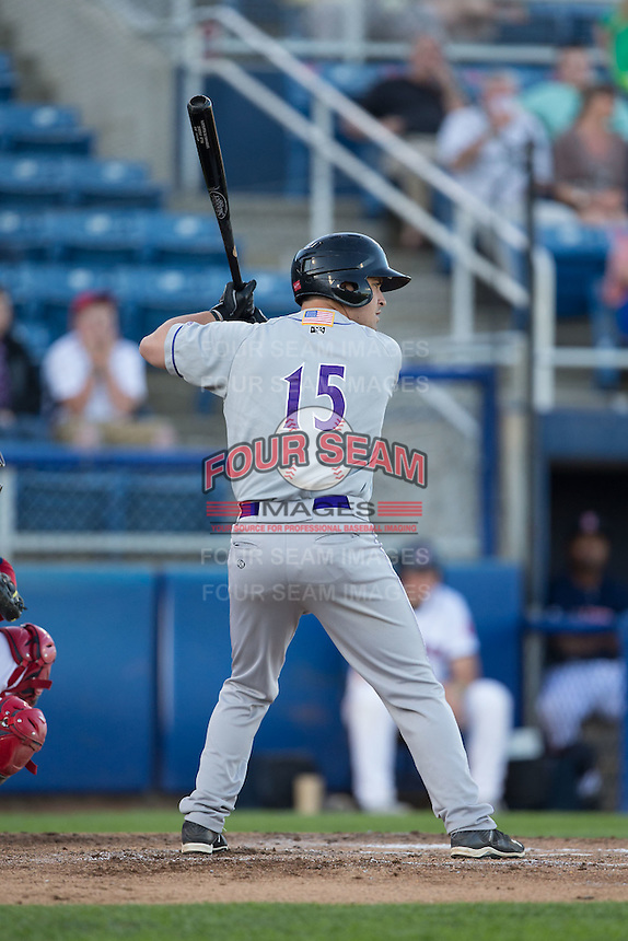 Nolan Early (15) of the Winston-Salem Dash at bat against the Salem Red Sox at LewisGale Field at Salem Memorial Ballpark on May 13, 2015 in Salem, Virginia.  The Red Sox defeated the Dash 8-2.  (Brian Westerholt/Four Seam Images)