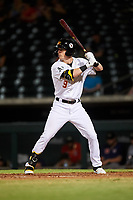 Mesa Solar Sox Greg Deichmann (9), of the Oakland Athletics organization, at bat during an Arizona Fall League game against the Peoria Javelinas on September 21, 2019 at Sloan Park in Mesa, Arizona. Mesa defeated Peoria 4-1. (Zachary Lucy/Four Seam Images)
