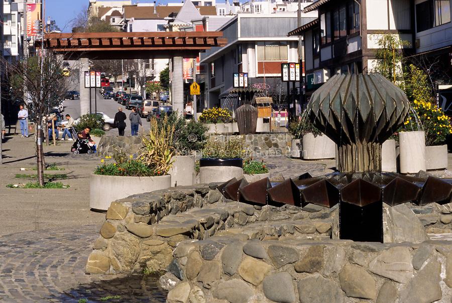 San Francisco, California.  Origami Fountain, Japantown, Buchanan Street.  Ruth Asawa, Sculptor, 1976.