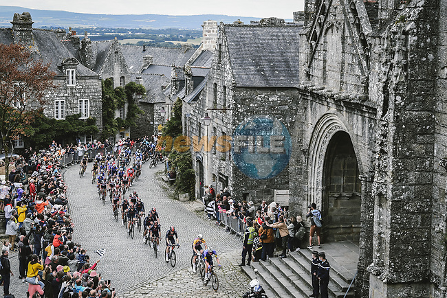 The peloton during Stage 1 of the 2021 Tour de France, running 197.8km from Brest to Landerneau, France. 26th June 2021.  <br /> Picture: A.S.O./Pauline Ballet | Cyclefile<br /> <br /> All photos usage must carry mandatory copyright credit (© Cyclefile | A.S.O./Pauline Ballet)