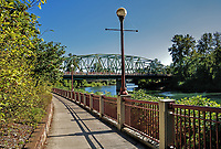 A view of the Ferry Street Bridge from the river trails, Eugene, Oregon.