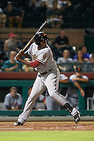 Salt River Rafters outfielder Gabby Guerrero (15) at bat during an Arizona Fall League game against the Scottsdale Scorpions on October 14, 2015 at Scottsdale Stadium in Scottsdale, Arizona.  Scottsdale defeated Salt River 13-3.  (Mike Janes/Four Seam Images)