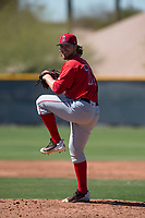 Los Angeles Angels relief pitcher Denny Brady (78) during a Minor League Spring Training game against the Chicago Cubs at Sloan Park on March 20, 2018 in Mesa, Arizona. (Zachary Lucy/Four Seam Images)