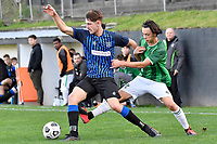 Kaeden Atkins of the Miramar Rangers competes for the ball with Devon Thurston of the Wainuiomata AFC during the Central League Football - Miramar Rangers AFC v Wainuiomata AFC at David Farrington Park, Wellington, New Zealand on Saturday 17 April 2021.<br /> Copyright photo: Masanori Udagawa /  www.photosport.nz