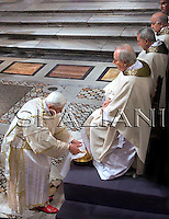 Benedict XVI washes feet  the mass on Good Friday at St Giovanni in Laterano Basilica ,March 20,2008