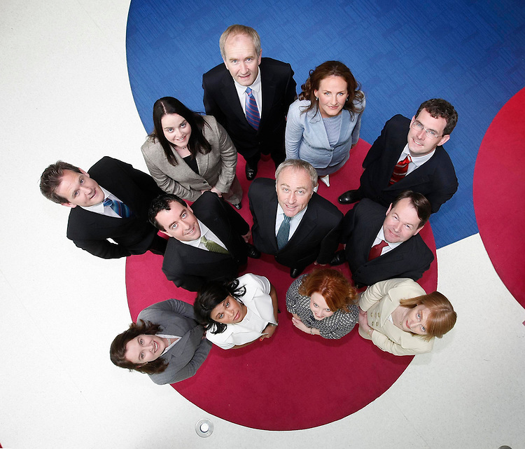 PricewaterhouseCoopers, Ireland's leading professional services Firm is delighted to announce the admission of eleven new Partners. Pictured here with Ronan Murphy, PwC's Senior Partner (Front centre) are the Firm's new Partners, included are clockwise: .Alisa Hayden (Consumer & Industrial Products and Services), Patricia Johnston (Investment Management), Gavin Ryle (Transfer Pricing), Brian Bergin (Transaction Services), Emma Scott (Banking), Garrett Cronin (Corporate Performance Improvement), Dervla McCormack (Strategy), Ronan MacNioclais (Corporate Tax), Tom Corbett (VAT),  Irene O'Keeffe (Technology & InfoComms), Andrea Kelly (Investment Management). Pic. Robbie Reynolds..