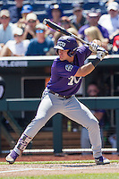 TCU Horned Frogs outfielder Austen Wade (8) at bat against the Texas Tech Red Raiders in Game 3 of the NCAA College World Series on June 19, 2016 at TD Ameritrade Park in Omaha, Nebraska. TCU defeated Texas Tech 5-3. (Andrew Woolley/Four Seam Images)