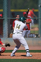 Oakland Athletics Sandber Pimentel (14) during an instructional league game against the Los Angeles Angels on October 9, 2015 at the Tempe Diablo Stadium Complex in Tempe, Arizona.  (Mike Janes/Four Seam Images)