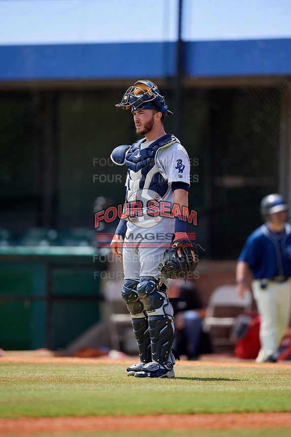 Pensacola Blue Wahoos catcher Joe Hudson (8) during a game against the Mobile BayBears on April 26, 2017 at Hank Aaron Stadium in Mobile, Alabama.  Pensacola defeated Mobile 5-3.  (Mike Janes/Four Seam Images)