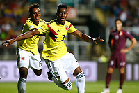 RANCAGUA - CHILE, 07-02-2019:  Andres Reyes (#3) de Colombia celebra después de anotar un gol durante partido con Venezuela por la fecha 4 dela fase final del Sudamericano Masculino Sub 20 Chile 2019 jugado en el estadio El Teniente de Rancagua en Rancagua, Chile. / Andres Reyes (#3) of Colombia celebrares after scoring a goal during match with Venezuela for the date 4 of final phase of South American Men U-20 Chile 2019 played at El Teniente de Rancagua stadium in Rancagua, Chile. Photo: VizzorImage / Pablo Vera / Cont / XpressMedia