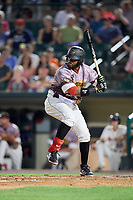 Rochester Red Wings first baseman Kennys Vargas (30) at bat during a game against the Lehigh Valley IronPigs on June 29, 2018 at Frontier Field in Rochester, New York.  Lehigh Valley defeated Rochester 2-1.  (Mike Janes/Four Seam Images)