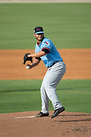Hickory Crawdads starting pitcher Edgar Arredondo (17) in action against the Kannapolis Intimidators in game one of a double-header at Kannapolis Intimidators Stadium on May 19, 2017 in Kannapolis, North Carolina.  The Crawdads defeated the Intimidators 5-4.  (Brian Westerholt/Four Seam Images)