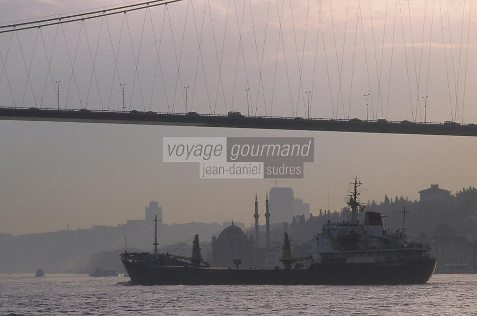 Europe/Turquie/Istanbul : Navigation sur le Bosphore et le pont vers l'Asie // Europe / Turkey / Istanbul: Navigation on the Bosphorus and the bridge to Asia