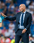 Manager Zinedine Zidane of Real Madrid reacts during the Santiago Bernabeu Trophy 2017 match between Real Madrid and ACF Fiorentina at the Santiago Bernabeu Stadium on 23 August 2017 in Madrid, Spain. Photo by Diego Gonzalez / Power Sport Images