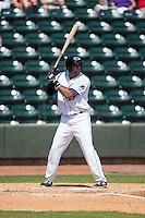 Nick Basto (23) of the Winston-Salem Dash at bat against the Carolina Mudcats at BB&T Ballpark on April 22, 2015 in Winston-Salem, North Carolina.  The Dash defeated the Mudcats 4-2..  (Brian Westerholt/Four Seam Images)