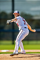 21 February 2019: Washington Nationals pitcher Austin Adams works on infield drills during a Spring Training workout at the Ballpark of the Palm Beaches in West Palm Beach, Florida. Mandatory Credit: Ed Wolfstein Photo *** RAW (NEF) Image File Available ***
