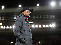 200312 --LIVERPOOL, March 12, 2020 Xinhua -- Liverpool s manager Jurgen Klopp is seen ahead of the UEFA Champions league Round of 16 second leg football match between Liverpool and Atletico Madrid in Liverpool, Britain, March 11, 2020. FOR EDITORIAL USE ONLY. NOT FOR SALE FOR MARKETING OR ADVERTISING CAMPAIGNS. NO USE WITH UNAUTHORIZED AUDIO, VIDEO, DATA, FIXTURE LISTS, CLUB/LEAGUE LOGOS OR LIVE SERVICES. ONLINE IN-MATCH USE LIMITED TO 45 IMAGES, NO VIDEO EMULATION. NO USE IN BETTING, GAMES OR SINGLE CLUB/LEAGUE/PLAYER PUBLICATIONS. Str/Xinhua SPBRITAIN-LIVERPOOL-FOOTBALL-UEFA CHAMPIONS LEAGUE-LIVERPOOL VS ATLETICO MADRID PUBLICATIONxNOTxINxCHN <br /> Liverpool 11/03/2020 Anfield <br /> Football Uefa Champions League 2019/2020 <br /> Round of 16 second leg <br /> Liverpool - Atletico Madrid <br /> Photo Imago/Insidefoto <br /> ITALY ONLY