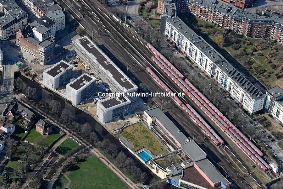 Bergedorf Billebad: EUROPA, DEUTSCHLAND, HAMBURG, (EUROPE, GERMANY), 09.02.2008: Bergedorf,  Zentrum, Uebersicht,  Bahn, Linie, Bahnlinie, Lohbruegge,  Stadtansicht,  Baustelle, Neubau, Bau, Baugrundstueck,  Billebad, Wohnungsbau,  Luftbild, Luftansicht, Air, Aufwind-Luftbilder..c o p y r i g h t : A U F W I N D - L U F T B I L D E R . de.G e r t r u d - B a e u m e r - S t i e g 1 0 2, .2 1 0 3 5 H a m b u r g , G e r m a n y.P h o n e + 4 9 (0) 1 7 1 - 6 8 6 6 0 6 9 .E m a i l H w e i 1 @ a o l . c o m.w w w . a u f w i n d - l u f t b i l d e r . d e.K o n t o : P o s t b a n k H a m b u r g .B l z : 2 0 0 1 0 0 2 0 .K o n t o : 5 8 3 6 5 7 2 0 9.C o p y r i g h t n u r f u e r j o u r n a l i s t i s c h Z w e c k e, keine P e r s o e n l i c h ke i t s r e c h t e v o r h a n d e n, V e r o e f f e n t l i c h u n g  n u r  m i t  H o n o r a r  n a c h M F M, N a m e n s n e n n u n g  u n d B e l e g e x e m p l a r !.