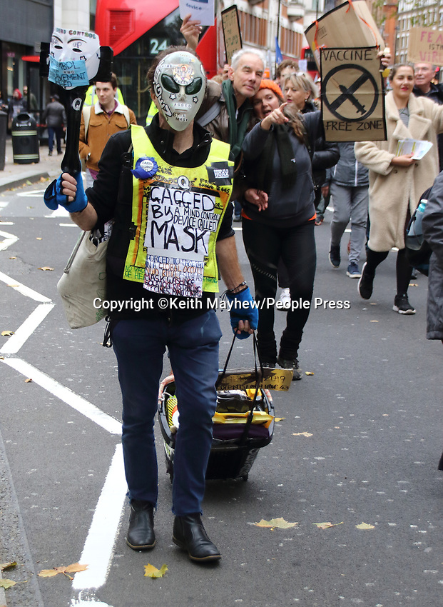 Unite for Freedom movement - theAnti lockdown, anti vaccine, anti government and anti masks protesters, march from Hyde Park to Westminster for their 'We Have The Power' rally. Protesting against the new government measures to combat Covid-19.London on Saturday October 24th 2020<br /> <br /> Photo by Keith Mayhew