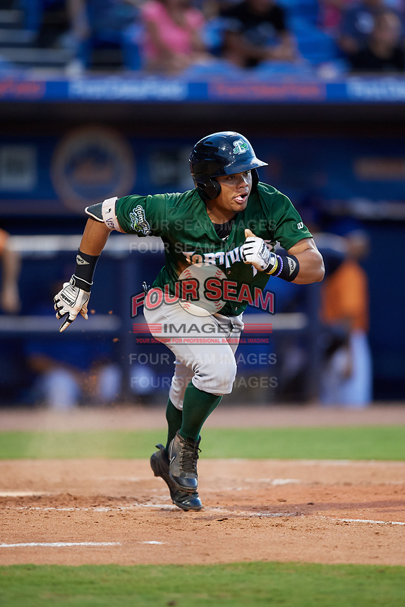 Daytona Tortugas second baseman Randy Ventura (1) runs to first base during a game against the St. Lucie Mets on August 3, 2018 at First Data Field in Port St. Lucie, Florida.  Daytona defeated St. Lucie 3-2.  (Mike Janes/Four Seam Images)