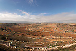 Judea, Gush Etzion. Traditional agriculture fields as seen from Efrata, Neve Daniel is in the background
