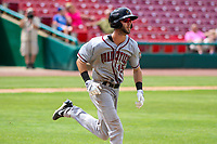 Quad Cities River Bandits second baseman David Hensley (15) runs to first base during a Midwest League game against the Kane County Cougars on July 1, 2018 at Northwestern Medicine Field in Geneva, Illinois. Quad Cities defeated Kane County 3-2. (Brad Krause/Four Seam Images)
