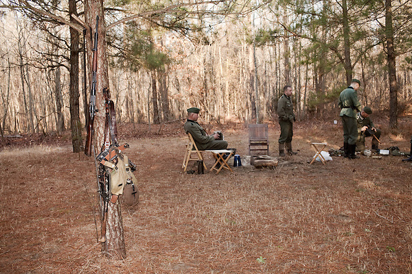 February 18, 2012. Enfield, NC.. The camp of the 208 Infantry Regiment. Reenactors depict German infantry units in a reenactment of the Battle of the Rhineland, which took place September 15, 1944- March 21, 1945..