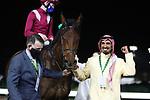 February 20, 2021: MISHRIFF #11 ridden by David Egan wins The Saudi Cup for John Gosden on Saudi Cup Day, King Abdulaziz Racecourse, Riyadh, Saudi Arabia. Shamela Hanley/Eclipse Sportswire/CSM