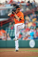 Richmond Flying Squirrels starting pitcher Jordan Johnson (23) delivers a pitch during a game against the Trenton Thunder on May 11, 2018 at The Diamond in Richmond, Virginia.  Richmond defeated Trenton 6-1.  (Mike Janes/Four Seam Images)