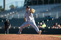 Mesa Solar Sox relief pitcher Aaron Wilkerson (56), of the Milwaukee Brewers organization, delivers a pitch during an Arizona Fall League game against the Scottsdale Scorpions at Scottsdale Stadium on November 2, 2018 in Scottsdale, Arizona. The shortened seven-inning game ended in a 1-1 tie. (Zachary Lucy/Four Seam Images)