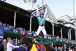 November 3, 2018: Frankie Dettori celebrates atop Expert Eye #7 after winning the Breeders' Cup Mile on Breeders' Cup World Championship Saturday at Churchill Downs on November 3, 2018 in Louisville, Kentucky. Alex Evers/Eclipse Sportswire/CSM