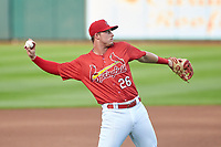 Springfield Cardinals third baseman Nolan Gorman (26) warmup throw to first base during a game against the Arkansas Travelers on June 8, 2021 at Hammons Field in Springfield, Missouri.  (Travis Berg/Four Seam Images)
