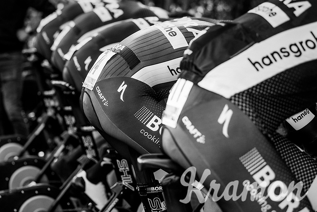 Team Bora-Hansgrohe on the rollers<br /> <br /> Men's Team Time Trial<br /> <br /> UCI 2017 Road World Championships - Bergen/Norway