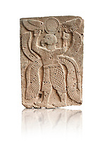 Pictures & images of the North Gate Hittite sculpture stele depicting a winged bird God. 8the century BC.  Karatepe Aslantas Open-Air Museum (Karatepe-Aslantaş Açık Hava Müzesi), Osmaniye Province, Turkey. Against white background
