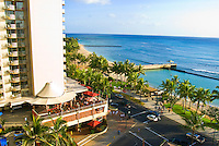 Overlooking Kalakaua Avenue and world famous Waikiki Beach in Honolulu, Hawaii