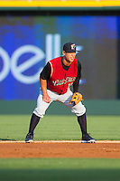 Scranton/Wilkes-Barre RailRiders second baseman Rob Refsnyder (13) on defense against the Charlotte Knights at BB&T Ballpark on July 17, 2014 in Charlotte, North Carolina.  The Knights defeated the RailRiders 9-5.  (Brian Westerholt/Four Seam Images)