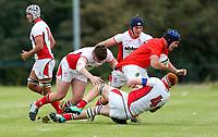 Wednesday 21st August 2019 | Ulster U19 vs Munster U19  <br /> <br /> Matthew Sands tackles Jack Kelleher during the U19 Inter-Pro between Ulster and Munster at Bangor Grammar School, Bangor, County Down, Northern Ireland.. Photo by John Dickson - DICKSONDIGITAL