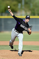 Colorado Rockies pitcher Scott Oberg (32) during an instructional league game against the Los Angels Angels of Anaheim on September 30, 2013 at Tempe Diablo Stadium Complex in Tempe, Arizona.  (Mike Janes/Four Seam Images)