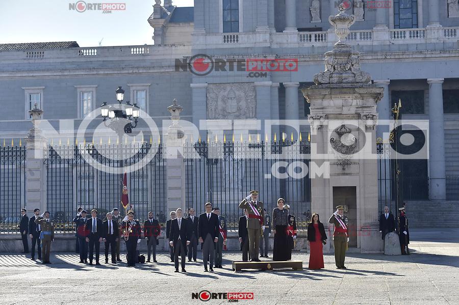 -FErnando Grande-Marlaska, Pedro Sanchez, King Felipe VI of Spain, Queen Letizia of Spain and Margarita Robles attends to Pascua Militar at Royal Palace in Madrid, Spain. January 06, 2019. (ALTERPHOTOS/Pool) /NortePhoto.com