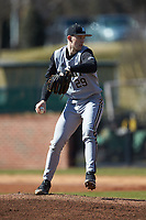 Bryant Bulldogs starting pitcher Tyler Schoff (29) in action against the \ho\ at Williard Stadium on February 21, 2021 in  Winston-Salem, North Carolina. The Panthers defeated the Bulldogs 3-2. (Brian Westerholt/Four Seam Images)