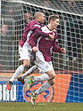 Arbroath's Euan Smith (right) is congratulated by Lee Sibanda after he scores the opener.