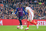 Ousmane Dembele of FC Barcelona (L) in action against Sergi Gomez of Sevilla FC (R) during the La Liga 2018-19 match between FC Barcelona and Sevilla FC at Camp Nou Stadium on October 20 2018 in Barcelona, Spain. Photo by Vicens Gimenez / Power Sport Images
